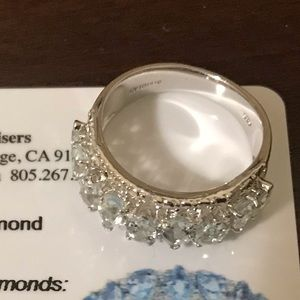 Orianne Diamond/Aquamarine Ring Silver Band 925